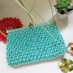 Vintage Plastic Beaded Clutch Purse Italy 1950s